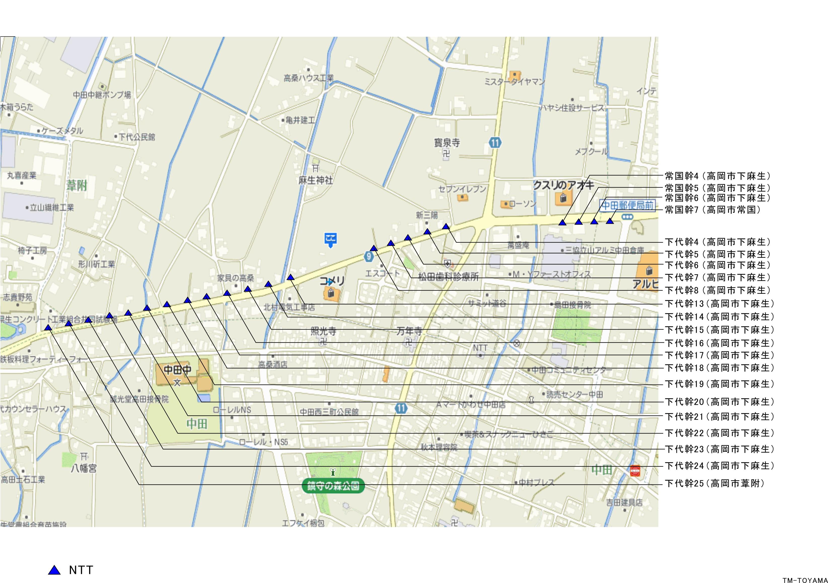 高岡市下麻生付近(県道9号線沿い)